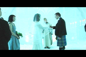 a clip from the Ice Hotel/Morocco wedding